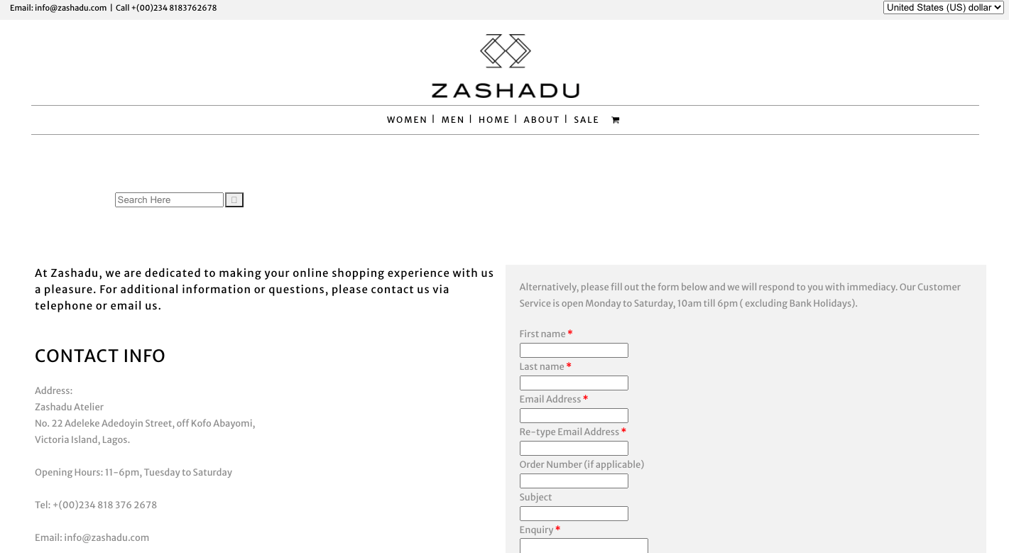 Zashadu contact us page