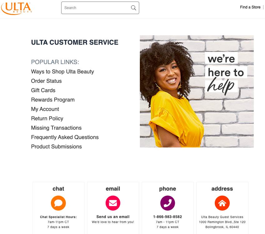 Ulta Beauty Contact Page