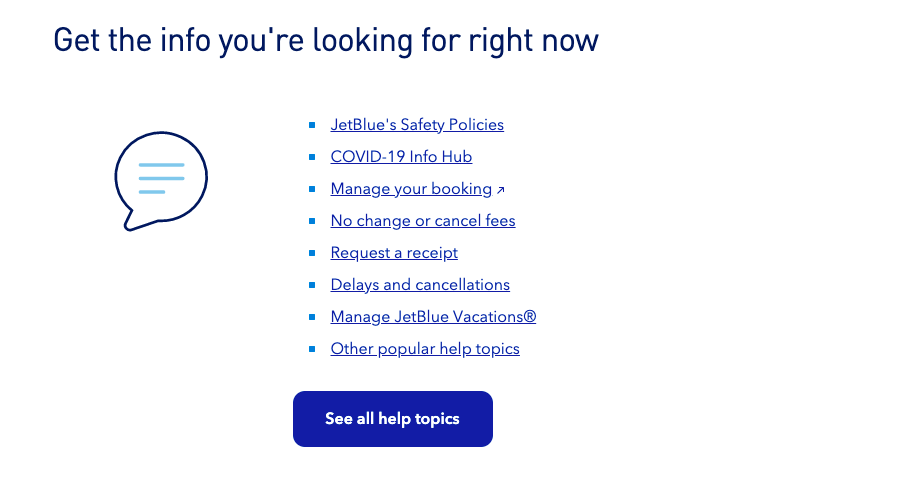 JetBlue contact us header