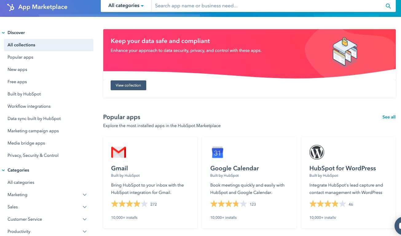 HubSpot's App Marketplace customer review website