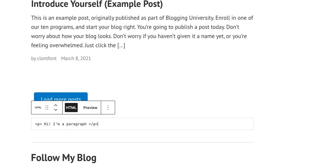 HTML file example WordPress