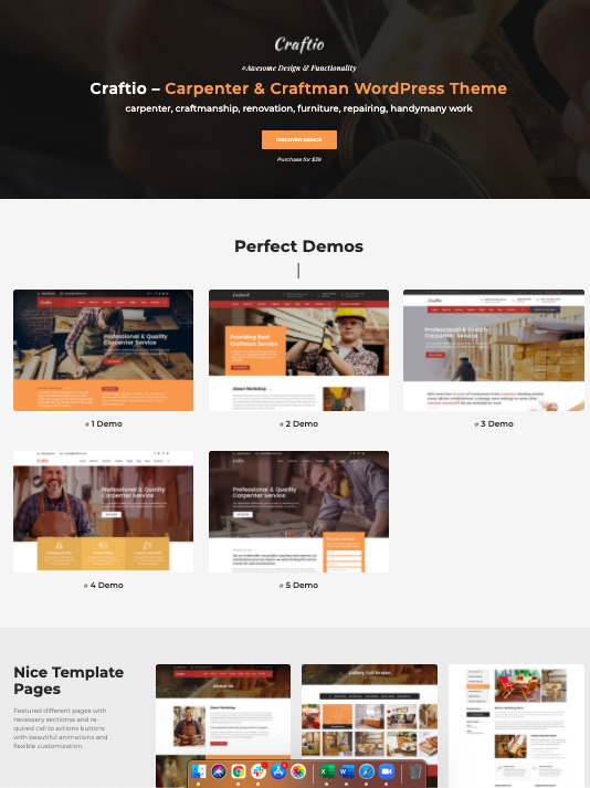Craftio- Wordpress theme for carpenters