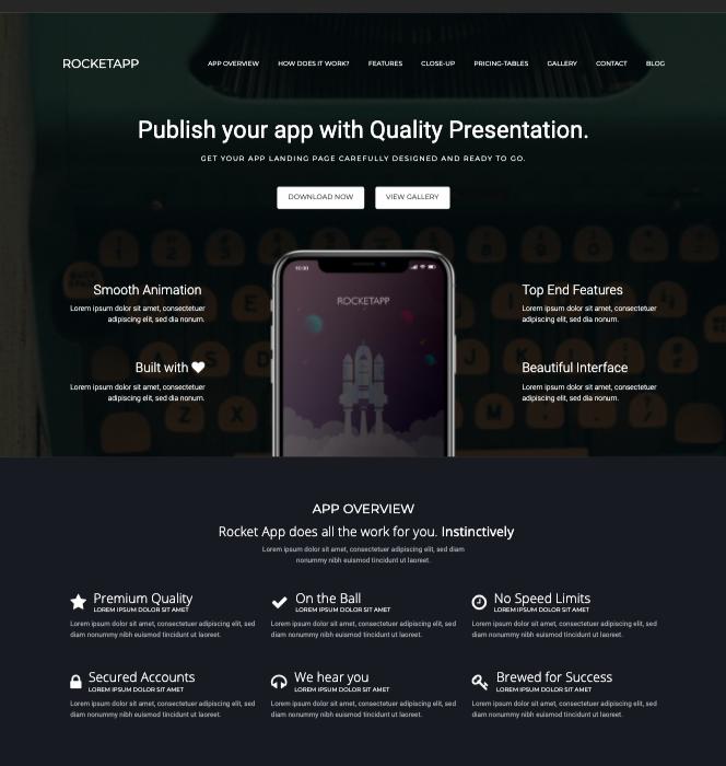 RocketApp-wordpress theme for mobile apps