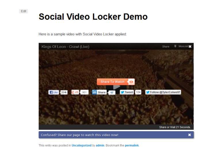 Social Video Locker Content locker WordPress plugin