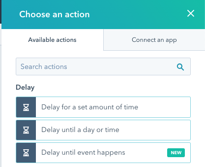 """A list of available actions including """"Delay until event happens"""""""