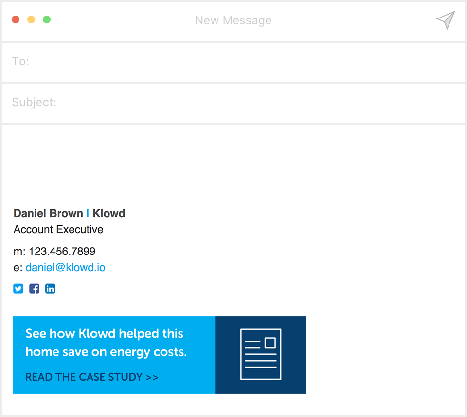 Email signature example by Klowd with case study promotion