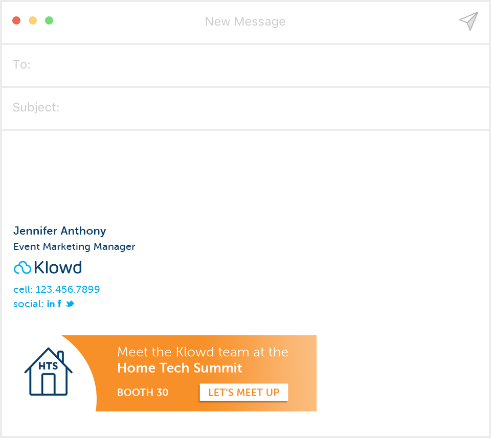Email signature example by Klowd with event promotion