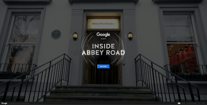 Homepage of Google's Inside Abbey Road, an award-winning website