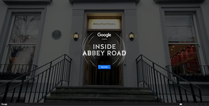 Homepage of Google's Inside Abbey Road, an award-winning website