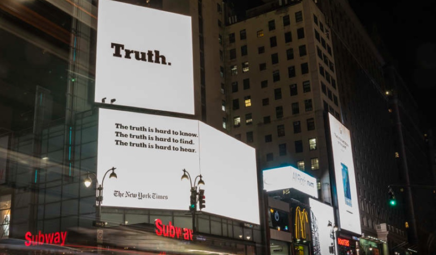 The New York Times campaign billboard.