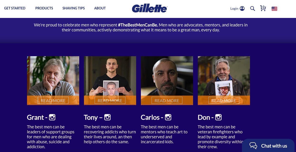 "Gillette's ""The Best Men Can Be"" landing page"