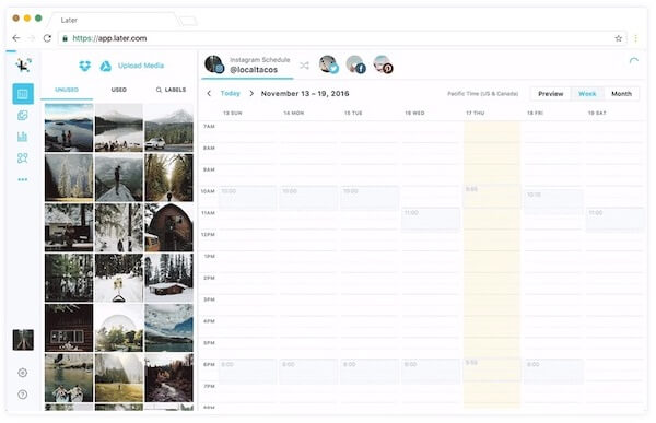 Later tool for scheduling Instagram posts