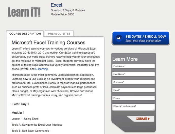 Learn iT! Excel Training Course description