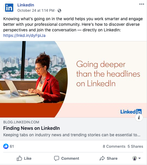 LinkedIn Facebook post