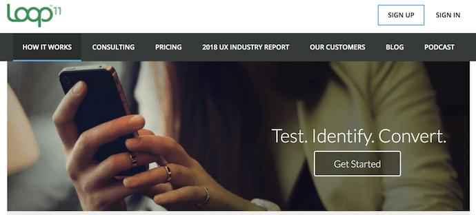 Homepage of Loop11, a website usability testing tool