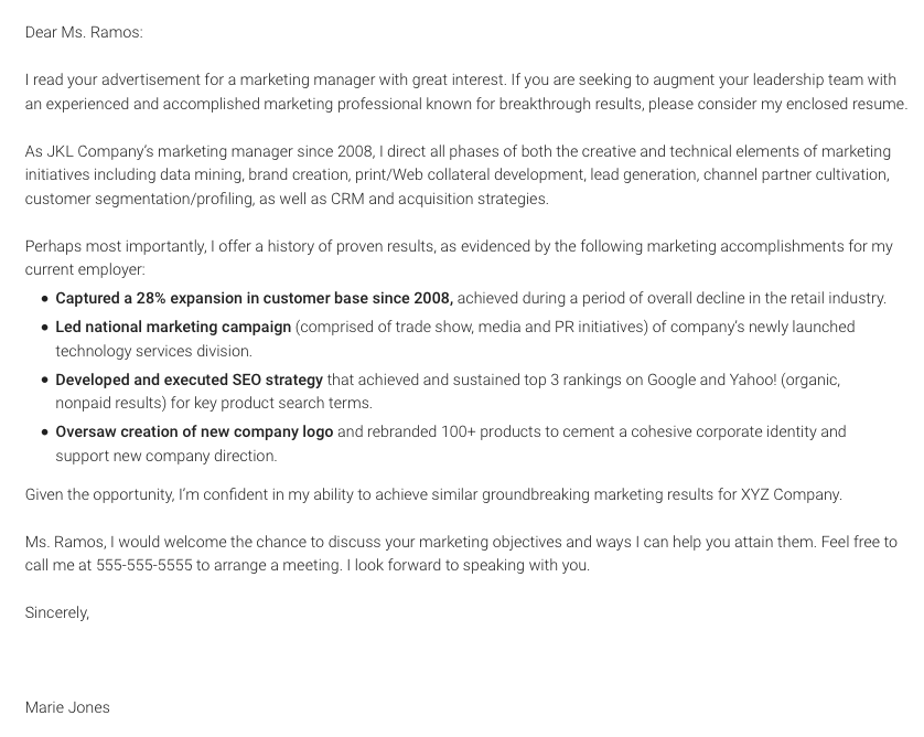 Good Marketing Specific.png. Remember: Writing A Cover Letter ...