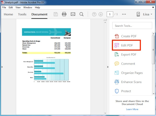Editable PDF with panel of tools on Adobe Acrobat Pro DC