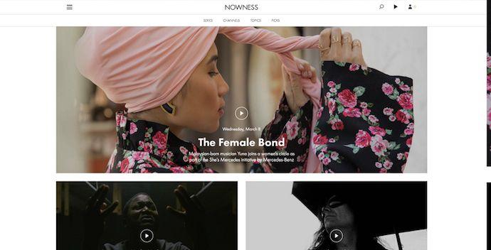 Página de inicio de NOWNESS, Los mejores diseños de páginas web 2021
