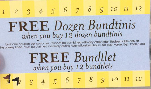 Nothing Bundt Cakes buy 12 get one free punch card example for customer loyalty program