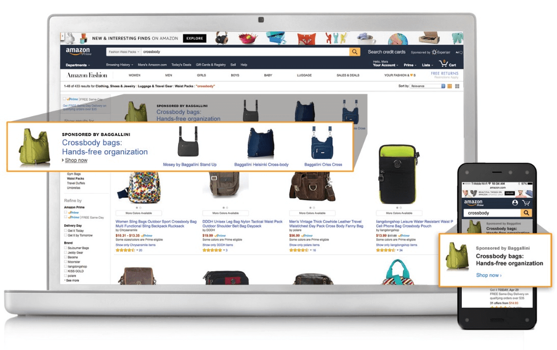 example of amazon headline search ad of crossbody bag