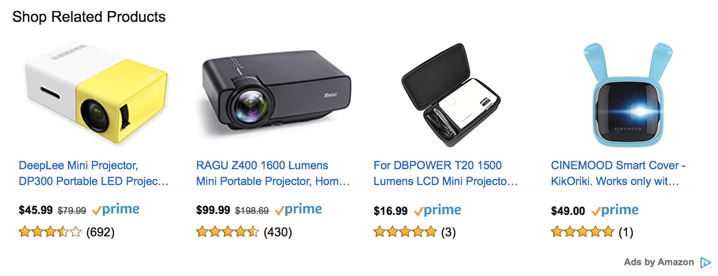Native ads on Amazon.