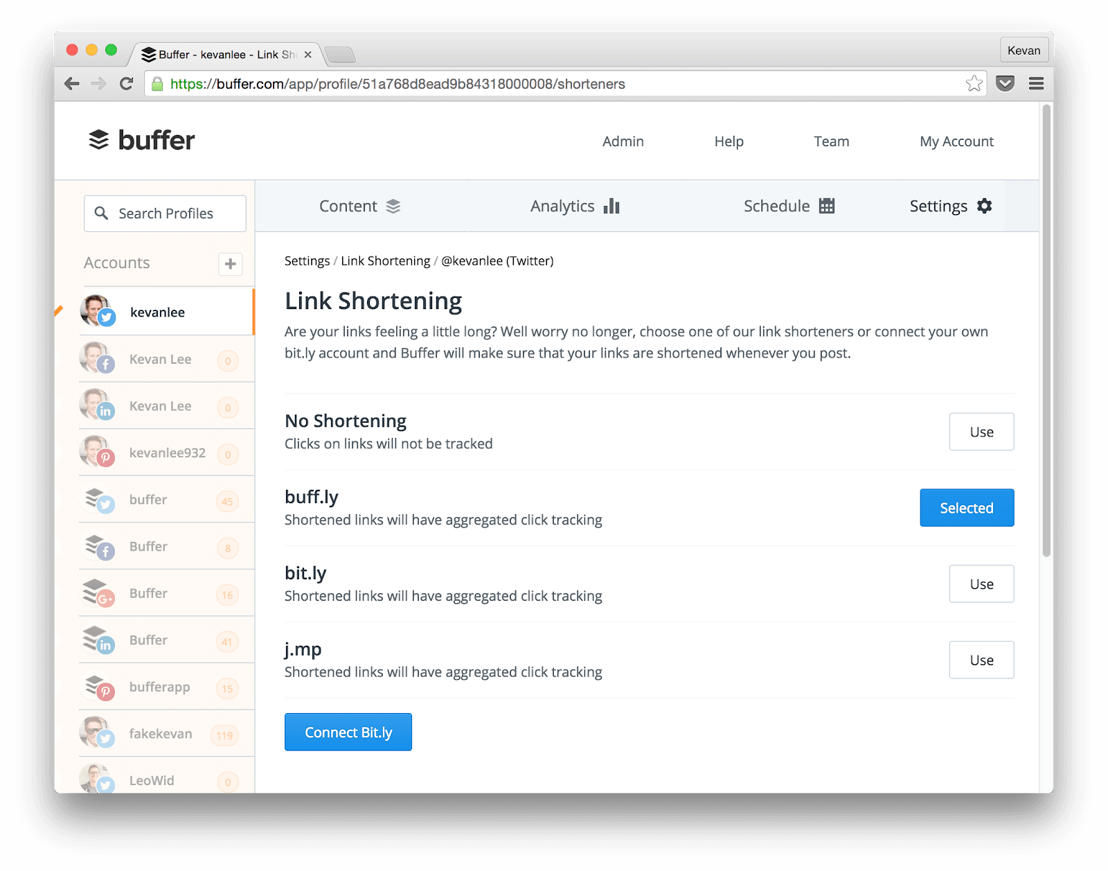 Buffer's link shortening page
