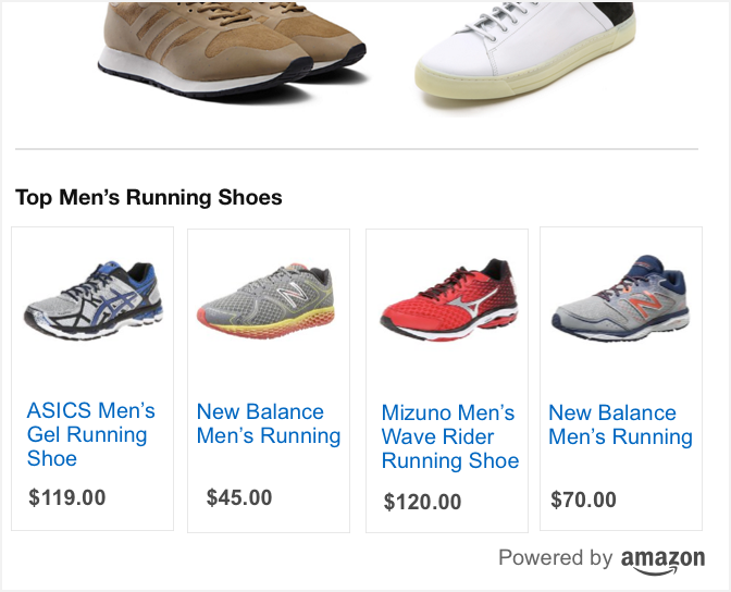 Custom ads on Amazon feature men's running shoes.