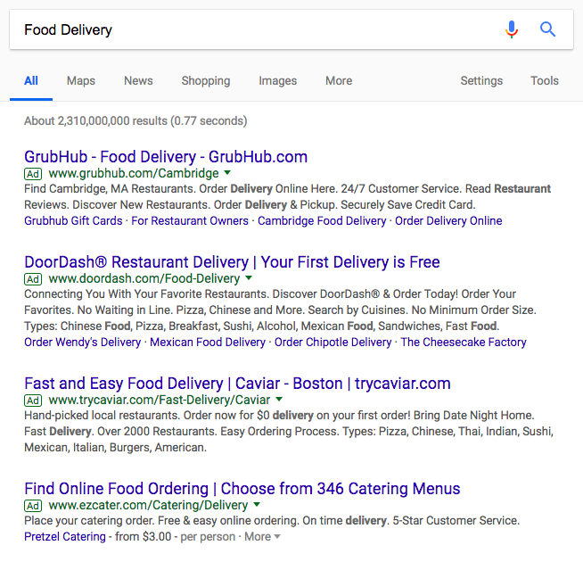 "Google Search Ads for ""Food Delivery"""
