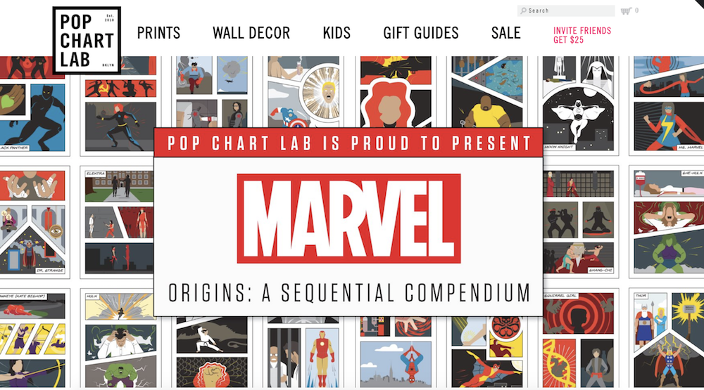 Pop Chart Lab Shopify store with Marvel superhero promotion