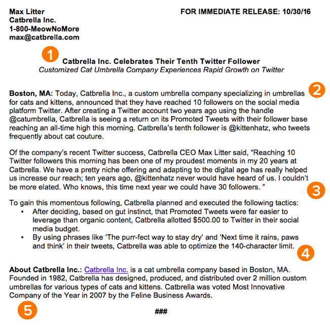 Sample press release format by HubSpot, with orange markers showing five rules to follow