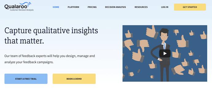 Homepage of Qualaroo, a website usability testing tool