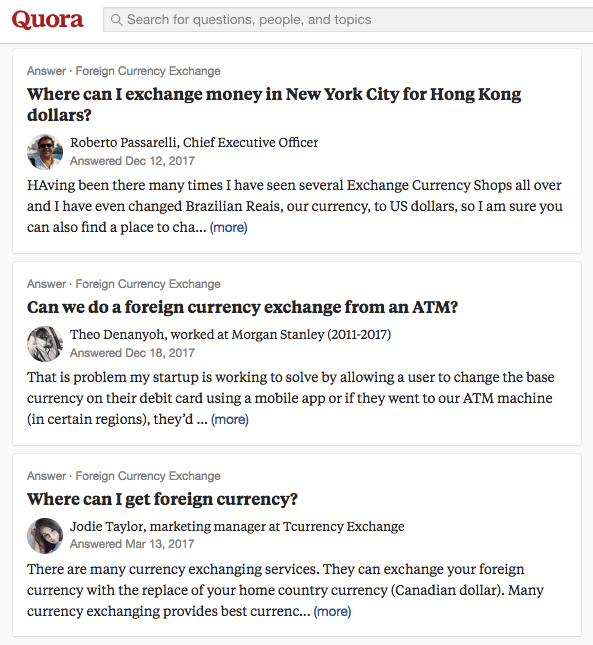 Group of Quora questions about foreign currency exchange