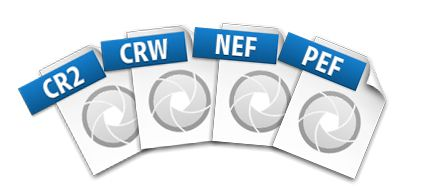 File icons for CR2, CRW, NEF, and PEF raw image formats