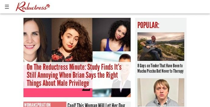 Homepage of Reductress, an award-winning website