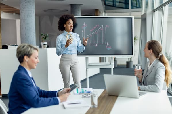 sales rep uses sales deck during presentation with prospects