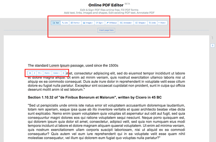 Edit toolbar for editing a PDF on Sejda
