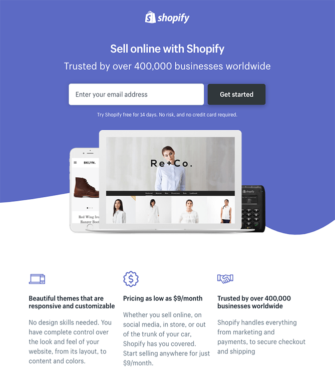 Shopify trang đích đăng ký