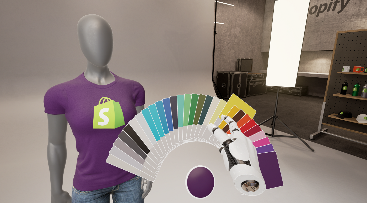VR walk-through of Shopify t-shirt on mannequin