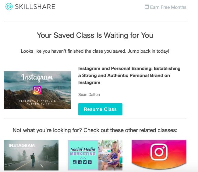 Skillshare abandonment email