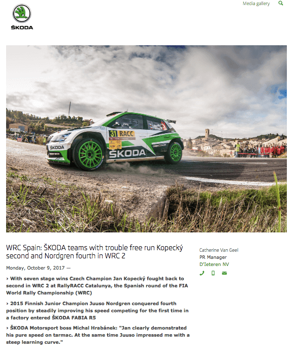 Event press release by Skoda, showing a picture of the company's green racing car
