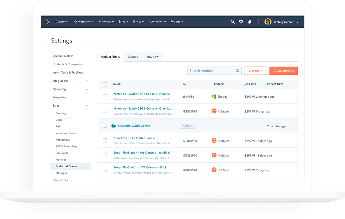 List of entries in Product library located on the Settings page