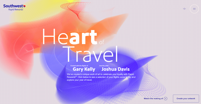 Homepage of Heart of Travel by Southwest Airlines, an award-winning website