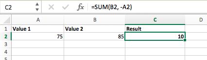 Subtraction formula in Excel