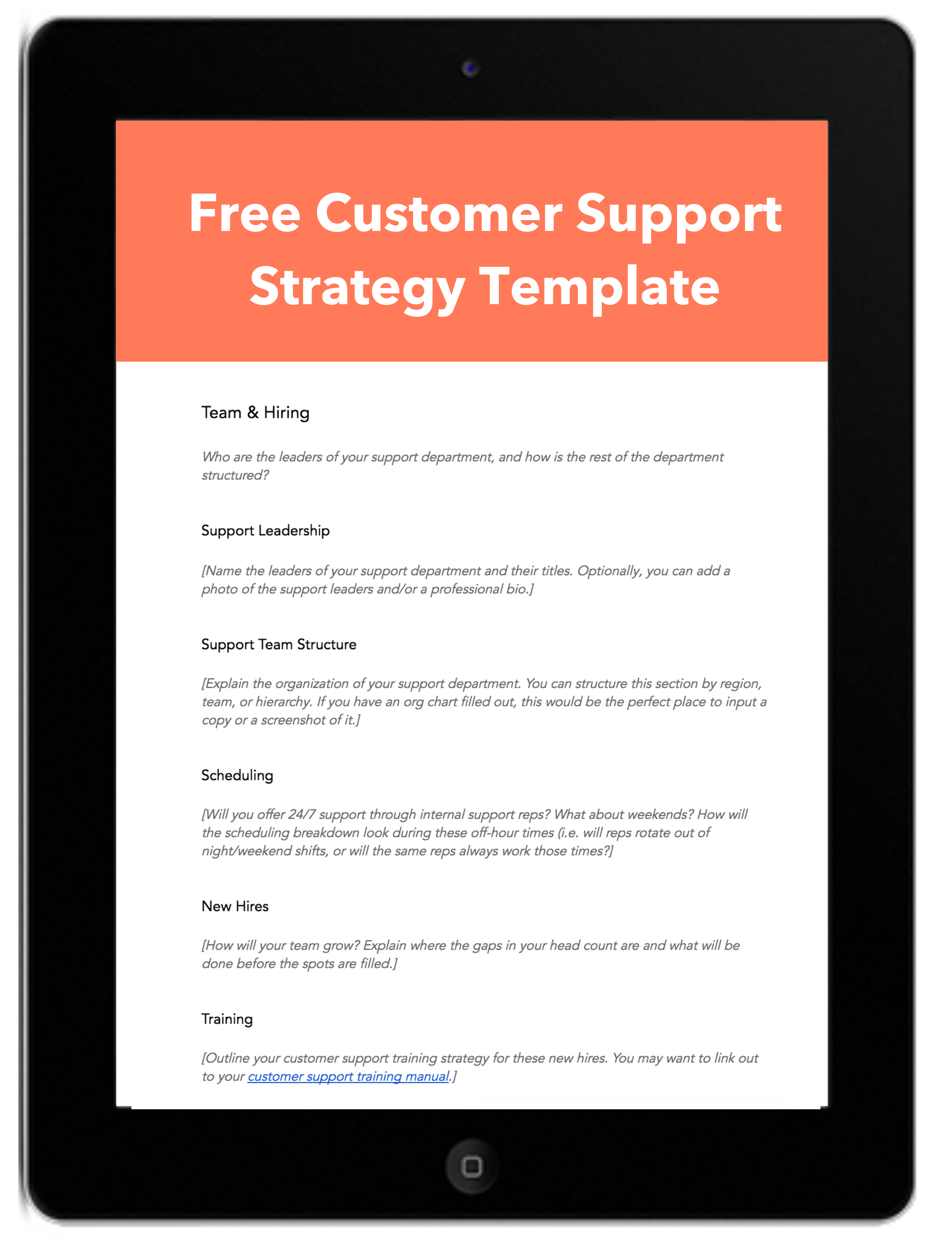 customer support strategy template