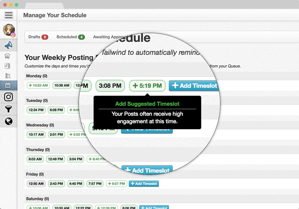 Tailwind tool for scheduling Instagram posts