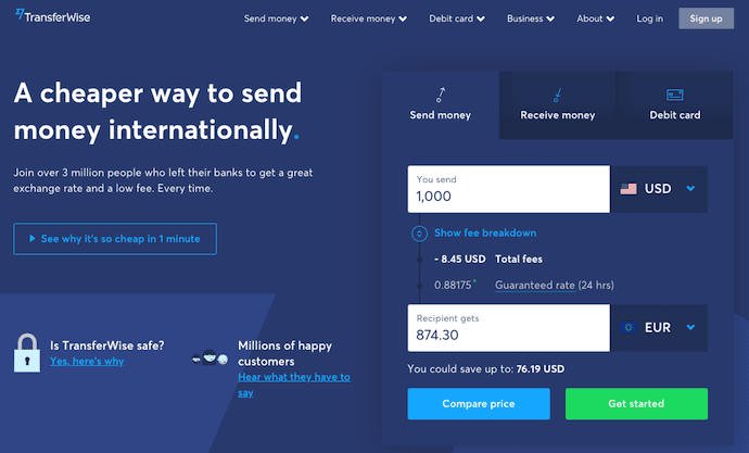 TransferWise sign-up landing page with CTAs for sending money, receiving money, and TransferWise debit card
