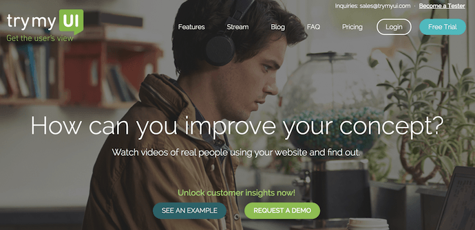 Homepage of TryMyUI, a website usability testing tool