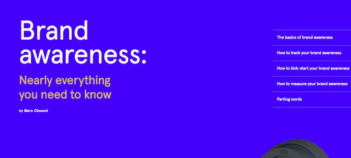 Pillar page on brand awareness by Typeform