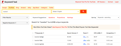 "keywordtool.io youtube generator tag results for ""baseball"""