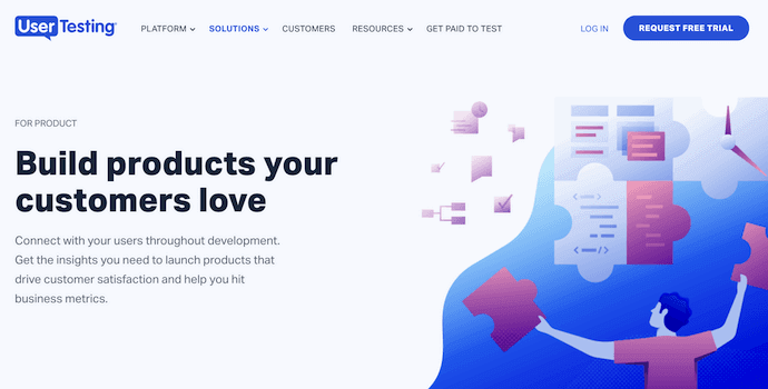 Homepage of UserTesting, a website usability testing tool